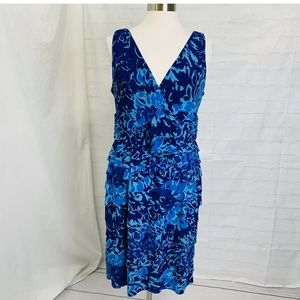 Jones New York 16 XL Dress Blue Geometric Tiered